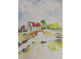 House along stream