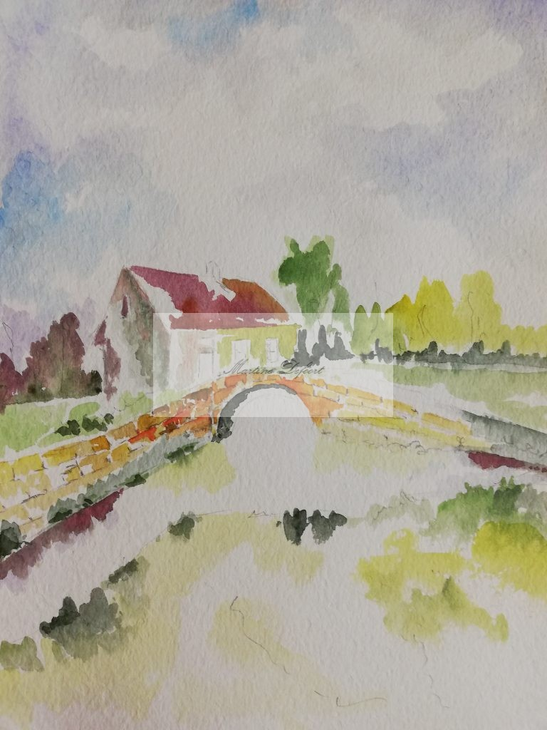 House along stream